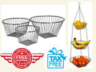 Wire Hanging Basket Storage Clear Display 3-Tier for Fruits or Ktchen Use Chrome