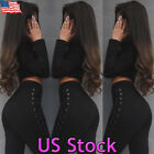 Women Side Lace Up Push Up Jeans Stretch High Waist Legging Slim Skinny Pants