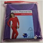 WOMENS 2PC 100 COTTON THERMAL UNDERWEAR SET LONG JOHNS TOP  BOTTOM SMALL -XXXL