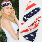 Women PATRIOTIC USA AMERICAN FLAG Wide HEADWRAP Stretch HeadBand ELECTION DAY