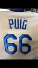 YASIL PUIG #66 DODGERS  Cooperstown Cool Base Jersey M GENTLY WORN see pics