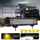 """Dual Color CREE 17""""INCH Quad LED Work Light Bar Combo Spot Flood Offroad Driving"""
