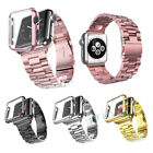 For A pple Watch Series 4 3 2 Stanless Steel Band Strap Replacement + Case Cover
