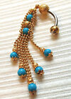 STYLISH NEW GOLD PLATED TURQUOISE BELLY BOTTON RING