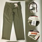 Sette Ponti Mens Dress Pants Size 34 Regular Khaki With Cuff Pleated Front Wool