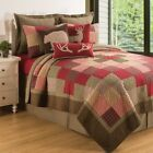 Huckleberry Sage Lodge Patchwork Reversible Cotton Quilt 3 Pc Set-King or Queen image