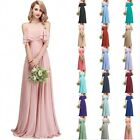 Women Off Shoulder Ruffles Long Wedding Party Gowns Chiffon Bridesmaid Dresses