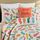 Flip Flop Life Coastal 3 Pc Queen or King Quilt Set-Quilted Bedspread with Shams image