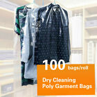 100x Dry Cleaning Poly Garment Bags Storage Dustproof Clear 35'' Coat Suit Decor