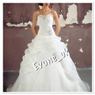 UK New Strapless Organza Bridal Gown White A Line Wedding Dresses Size 12
