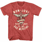 Bon Jovi Your Love Is Like Bad Medicine Men's T Shirt Rock Band Concert Album image