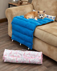Portable Roll-Up Soft Faux Fur Canvas Pet Dog Cat Yellow Black Pink or Blue Bed