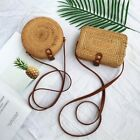 Hand Woven Rattan Straw For Women Bali Basket Round Retro Beach Bag With Button