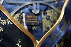 Oriental Blouse Thai Silk Made in Tailand Small Navy Gold Roses Zippered side