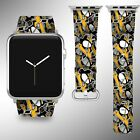 Pittsburgh Penguins Apple Watch Band 38 40 42 44 mm Fabric Leather Strap 01 $29.97 USD on eBay