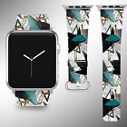 San Jose Sharks Apple Watch Band 38 40 42 44 mm Fabric Leather Strap 01 $29.97 USD on eBay
