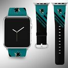 San Jose Sharks Apple Watch Band 38 40 42 44 mm Fabric Leather Strap 02 $29.97 USD on eBay
