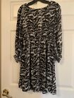 Alice+Olivia Womens Dress Size M Tiger Animal Print Silk Blend Keyhole Black 318