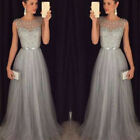 Women Formal Wedding Sequins Bridesmaid Evening Party Ball Prom Gown Long Dress