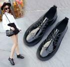 Fashion Womens Round Toe Oxfords Patent Leather Brogues Lace Up Casual Shoes NEW