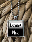 Lumos Nox Harry Potter Light Dark Glass Pendant Silver Chain Necklace NEW
