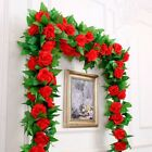 Внешний вид - 2.4m Long Silk Rose Flower Ivy Vine Leaf Garland Wedding Party Home Decorations