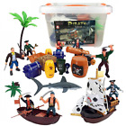 Liberty Imports Bucket of Pirate Action Figures Playset with Boat, Treasure Ches
