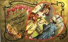 1907-1915 Valentine Greeting Foil Couple in Heart Butterfly