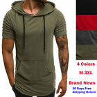 Mens Slim Fit Athletic Gym Muscle Hoodies T-shirt Top Sports Short Sleeve Blouse image
