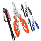 Steel Fishing Pliers Scissors Line Cutter Hook Remover Tool + Spring Rope