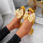 WOMENS LADIES LOW BLOCK HEEL PEEP TOE BOW SANDALS SUMMER SHOES SIZE UK