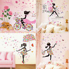 Flower Girl Butterfly Flower Fairy Wall Stickers For Bedroom Home Decoration