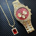 Hip Hop Quavo Iced Out Lab Diamond Red Dial Watch & Red Ruby Necklace Combo Set image