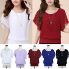 Women Chiffon T-Shirt Short Puff Sleeves Top Solid Plus Size Shirt Elegant S-5XL