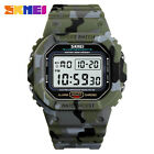 SKMEI Digital Watches LED Alarm Watch Men Military Sport Rectangle Wristwatches image