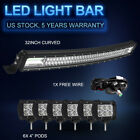 """New 32"""" Cree Curved LED Light Bar +6X 4"""" 18W Light Pods Spot Flood Combo Offroad"""