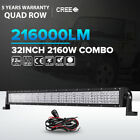 32'' 10D Quad Row 2160W CREE LED Work Light Bar Flood Spot Driving 4x4 SUV BOAT