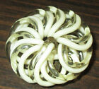 ANTIQUE VINTAGE EXTRUDED KNOT CELLULOID BUTTON - CLEAR & BEIGE ATOMIC FLOWER