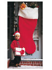 """60"""" Red Christmas Decoration Stocking With White Trim"""