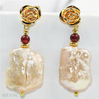 13-18mm Pink Baroque Pearl Earrings 18k hook Aurora Luxury AAA Party Jewelry