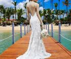 UK Ivory  Mermaid Bridal Gown Sleevess Lace Open Back Wedding Dresses Size 12