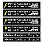 Power Assisted Bicycle Decal Fits Motorized Bicycles, E bikes Decal Kit