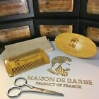 MAISON DE BARBE Beard Grooming Boar Bristle Brush Beard Comb Kit Shaving HQ Wood