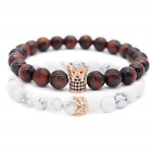 POSHFEEL 8mm Natural Stone CZ Crown King Beads His and Hers Couple Bracelet,