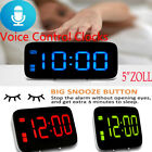 Digital LED Alarm Clock Large Screen Snooze Battery Powered Voice Control Clocks