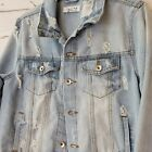 Distressed Faded Jean Jacket by Ci Sono  Size Large