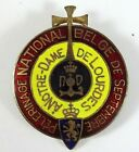 OLD RARE NOTRE DAM ENAMEL MEDAL - CHRISTIAN WITH A LION BANNER