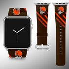 Cleveland Browns Apple Watch Band 38 40 42 44 mm Fabric Leather Strap 2 $29.97 USD on eBay