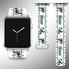 Miami Dolphins Apple Watch Band 38 40 42 44 mm Fabric Leather Strap 2 on eBay