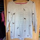 nEW Joules Harbour Print Dog Stripe cotton top sz UK 14